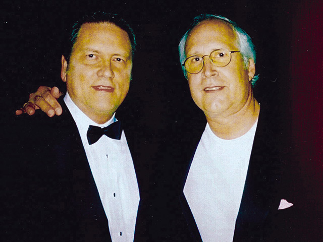 Chevy Chase at the Emmys Governors Ball in 2009, with Jim Longworth