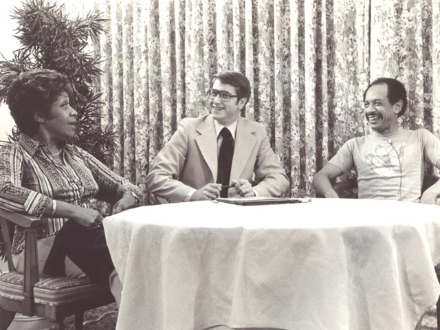 Jim Longworth with Isabel Sanford and Sherman Hemsley of 'The Jeffersons'
